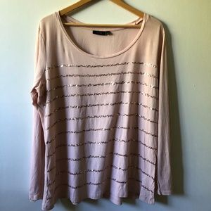 APT 9 Pink Sequined Long Sleeved Shirt